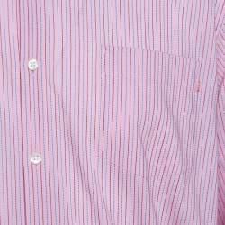 Boss By Hugo Boss Pink Striped Cotton Button Front Long Sleeve Shirt XL