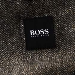 Boss By Hugo Boss Brown Herringbone Wool Regular Fit Jacket L