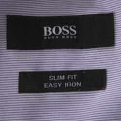 Boss by Hugo Boss Lilac Pinstriped Cotton Joey Shirt L