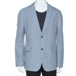 Boss By Hugo Boss Blue Micro Check Print Cotton Micah Blazer XXL