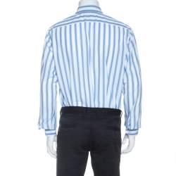 Boss By Hugo Boss Blue Striped Cotton Long Sleeve Shirt L