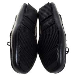 Bottega Veneta Black Intrecciato Leather Cervo Wave Driver Bow Loafers Size 40