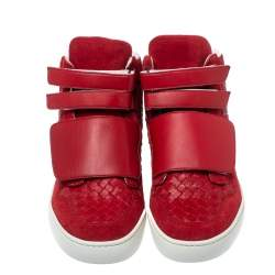 Bottega Veneta Red Intrecciato Leather and Suede Velcro Strap High Top Sneakers Size 44