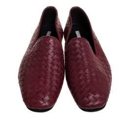 Bottega Veneta Burgundy Intrecciato Leather Smoking Slippers Size 41
