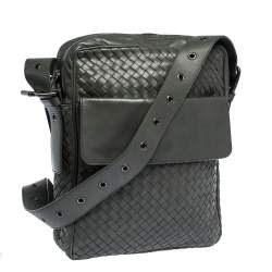 Bottega Veneta Grey Intrecciato Leather Grommet Strap Messenger Bag
