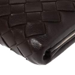 Bottega Veneta Brown Intrecciato Leather Frame Coin Purse