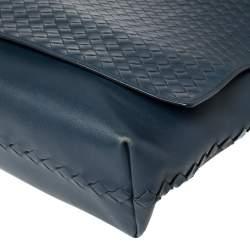 Bottega Veneta Navy Blue Intrecciato Leather Flap Messenger Bag