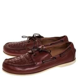Bottega Veneta Maroon Intrecciato Leather Driving Loafer Size 43