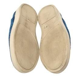 Bottega Veneta Blue Suede Dodger Intrecciato Slip On Sneakers Size 44