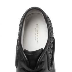 Bottega Veneta Black Intrecciato Leather Low Top Sneakers Size 42.5