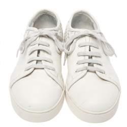 Bottega Veneta White Intrecciato Leather Low Top Sneakers Size 42.5