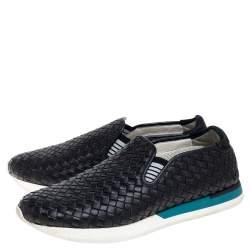 Bottega Veneta Black Intrecciato Leather Slip On Sneakers Size 44