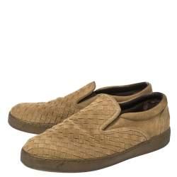 Bottega Veneta Olive Green Intrecciato Suede Dodger Slip On Sneakers Size 44.5
