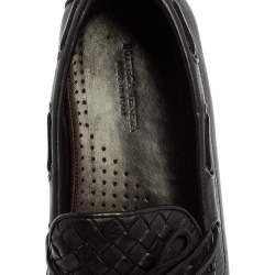 Bottega Veneta Black Intrecciato Leather Bow Slip On Loafers Size 41