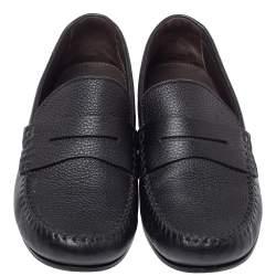 Bottega Veneta Black Leather Austin Penny Loafers Size 41