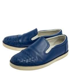 Bottega Veneta Blue Intrecciato Leather Slip On Sneakers Size 41