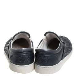 Bottega Veneta Black Leather Intrecciato Low Top Sneakers Size 40.5
