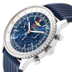 Breitling Blue Stainless Steel Navitimer 01 Exclusive Edition AB0127 Men's Wristwatch 46 MM