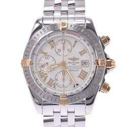 Breitling White 18K Yellow Gold And Stainless Steel Chronomat Evolution Chronograph Automatic B13356 Men's Wristwatch 43 MM