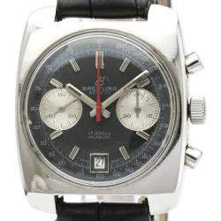 Breitling Black Stainless Steel Incabloc Chronograph Hand-Winding Men's Wristwatch 36 MM