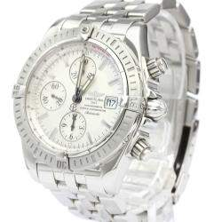 Breitling Silver Stainless Steel Chronomat Evolution Automatic A13356 Men's Wristwatch 44 MM