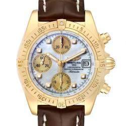 """ساعة يد رجالية بريتلينغ """"ويندريدير كوكبيت بي13355"""" ذهب أصفر عيار 18 و ألماس و صدف 39 مم"""