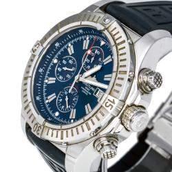 Breitling Blue Stainless Steel Super Avenger A13370 Men's Wristwatch 48 mm