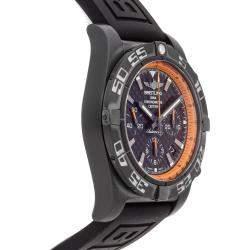 ساعة يد رجالية بريتلينغ كاربون كرونومات إصدار محدود أم بي01111أيه/بي جيه17 بلاكستيل سوداء 44 مم