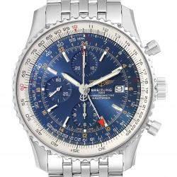 ساعة يد رجالية بريتلينغ نافي تايمر A24322 ستانلس ستيل زرقاء 46 مم