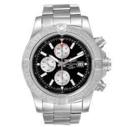 Breitling Black Stainless Steel Aeromarine Super Avenger A13371 Men's Wristwatch 48 MM