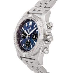 ساعة يد رجالية بريتلينغ كرونومات B01 كرونوغراف AB0115101C1A1 ستانلس ستيل زرقاء 44 مم