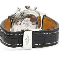 Breitling Black Stainless Steel Transocean Chronograph Automatic Ab0152 Men's Wristwatch 43 MM
