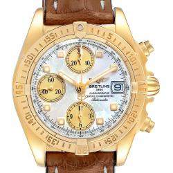 Breitling MOP Diamonds 18k Yellow Gold Windrider Cockpit K13358 Men's Wristwatch 39 MM