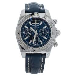 Breitling Blue Stainless Steel Alligator Leather AB0110 Chronomat Men's Wristwatch 43 MM