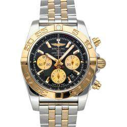 Breitling Black 18K Yellow Gold And Stainless Steel Chronomat CB011012/B968 Men's Wristwatch 44 MM
