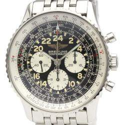 Breitling Black Stainless Steel Navitimer Cosmonaute A12022 Men's Wristwatch 41 MM