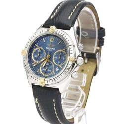 Breitling Blue 18K Yellow Gold And Stainless Steel Chrono Sextant Quartz B55047 Men's Wristwatch 36 MM
