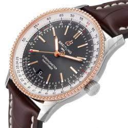Breitling Grey 18K Rose Gold Stainless Steel Navitimer 1 U17326 Men's Wristwatch 41MM