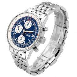 Breitling Blue Stainless Steel Navitimer II Chronograph A13322 Men's Wristwatch 42 MM