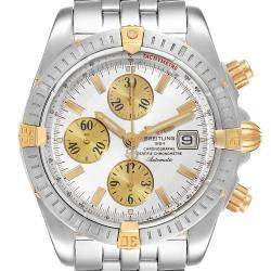 Breitling Silver 18K Yellow Gold And Stainless Steel Chronomat B13356 Men's Wristwatch 44 MM