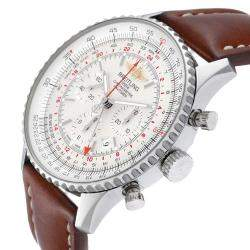 Breitling Silver Stainless Steel Navitimer GMT AB0441 Men's Wristwatch 48 MM