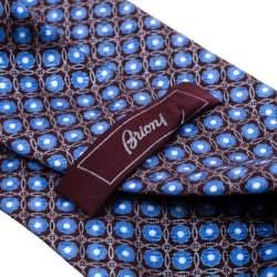 Brioni Burgundy and Blue Floral Motif Silk Jacquard Tie