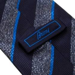 Brioni Navy Blue and Grey Diagonal Striped Silk Jacquard Tie