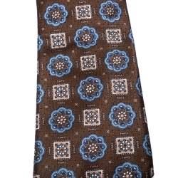 Brioni Vintage Brown Floral and Geometric Print Silk Tie
