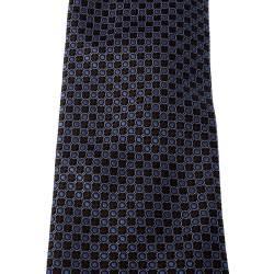 Brioni Brown and Purple Geometric Patterned Jacquard Silk Tie