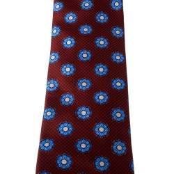 Brioni Red Floral Print Silk Tie