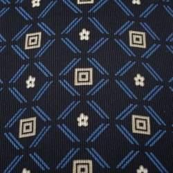 Brioni Vintage Blue Geometric Print Silk Tie