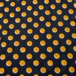 Brioni Vintage Blue and Yellow Polka Dot Print Silk Tie
