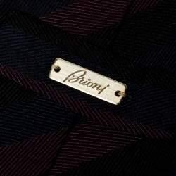 Brioni Tri-Color Diagonal Striped Silk Tie