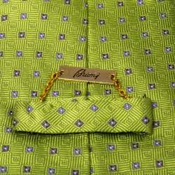 Brioni Vintage Green Geometric Pattern Silk Traditional Tie